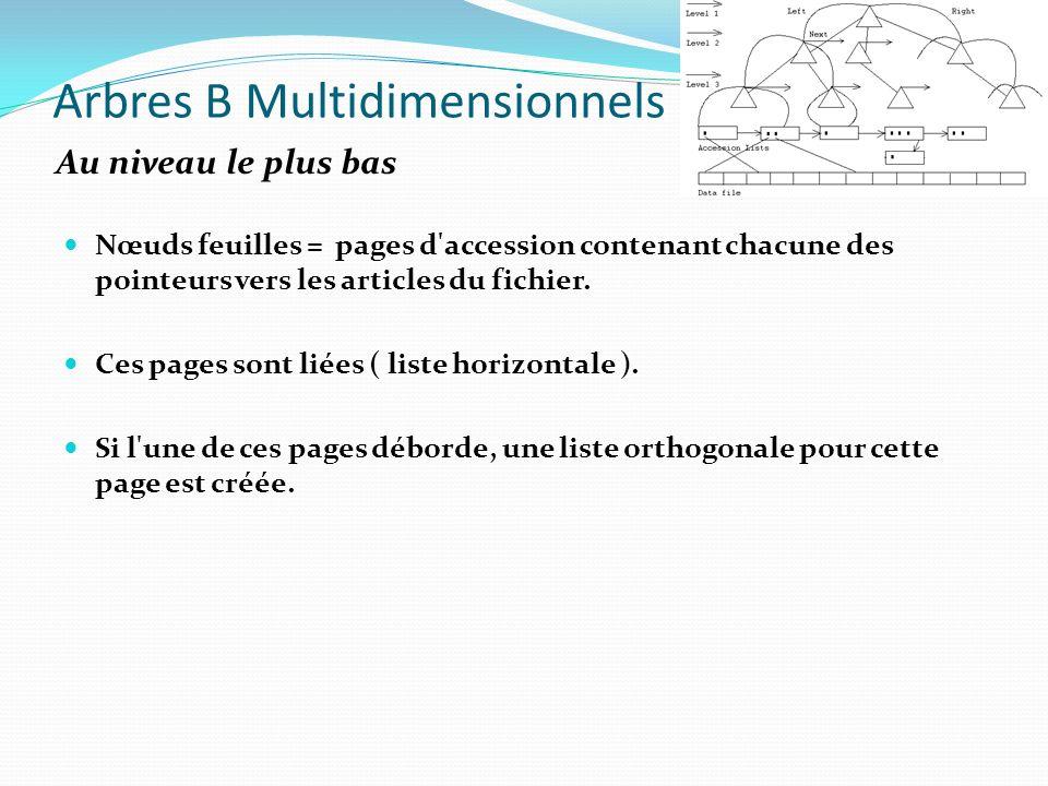 Arbres B Multidimensionnels Nœuds feuilles = pages d'accession contenant chacune des pointeurs vers les articles du fichier. Ces pages sont liées ( li