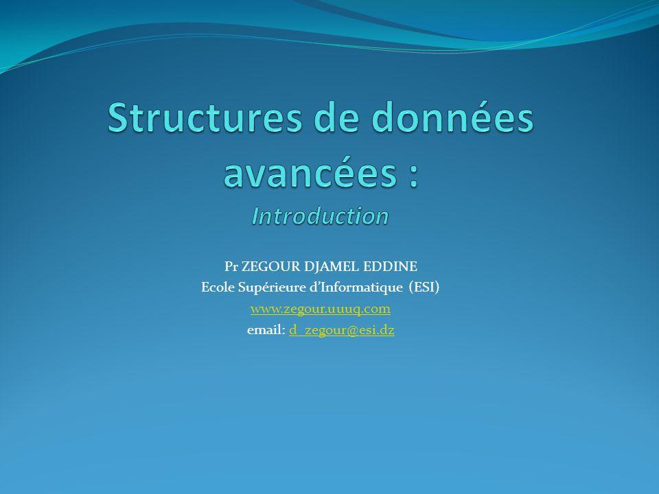 Pr ZEGOUR DJAMEL EDDINE Ecole Supérieure dInformatique (ESI) www.zegour.uuuq.com email: d_zegour@esi.dzd_zegour@esi.dz
