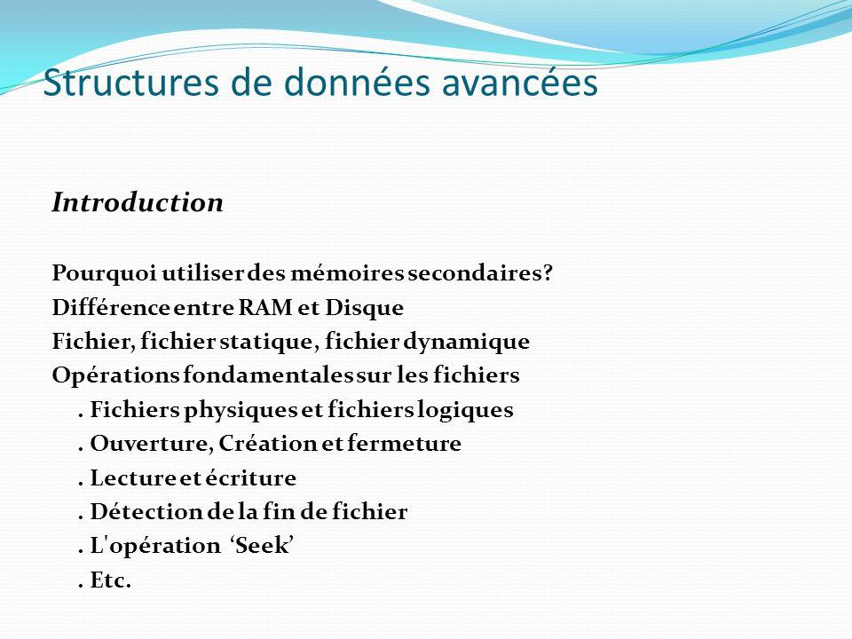 Introduction Pourquoi utiliser des mémoires secondaires? Différence entre RAM et Disque Fichier, fichier statique, fichier dynamique Opérations fondam
