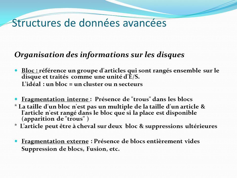 Structures de données avancées Organisation des informations sur les disques Bloc : référence un groupe d'articles qui sont rangés ensemble sur le dis