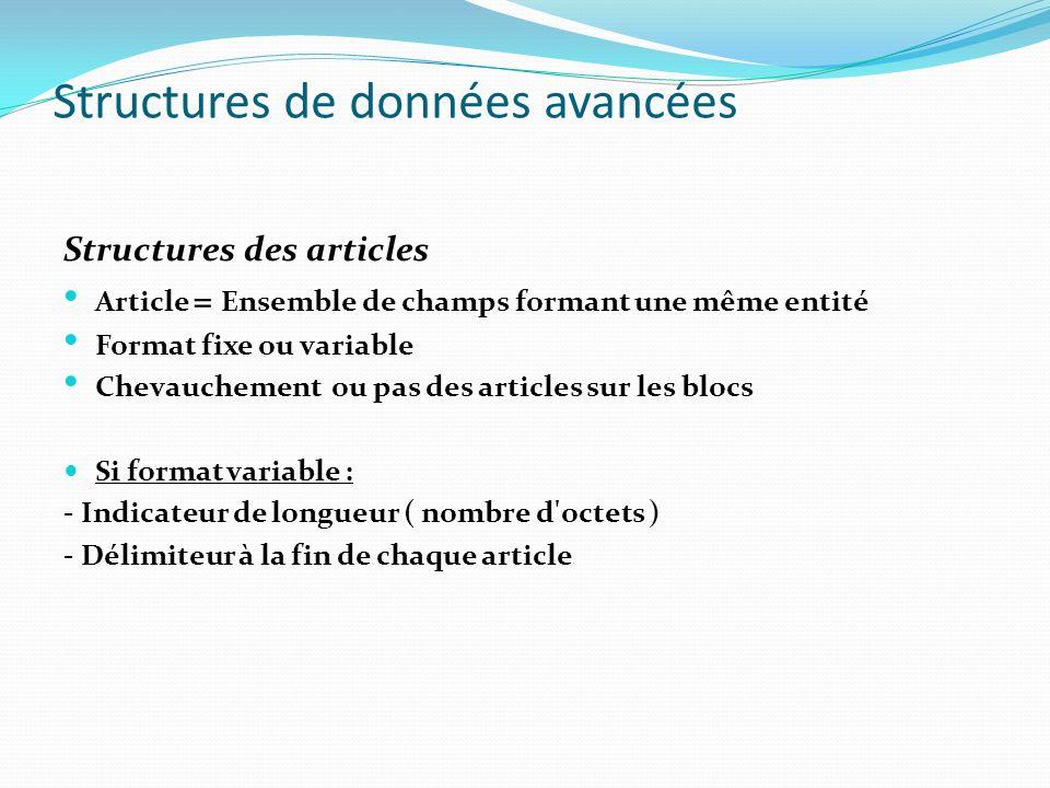 Structures de données avancées Structures des articles Article = Ensemble de champs formant une même entité Format fixe ou variable Chevauchement ou p