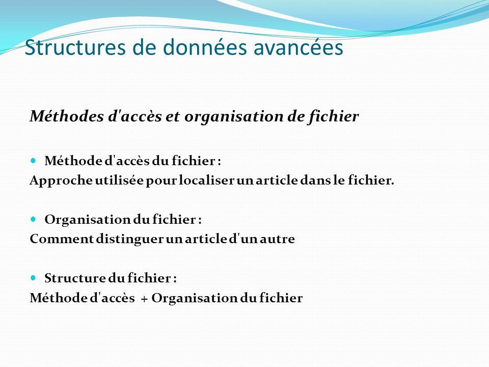Structures de données avancées Méthodes d'accès et organisation de fichier Méthode d'accès du fichier : Approche utilisée pour localiser un article da