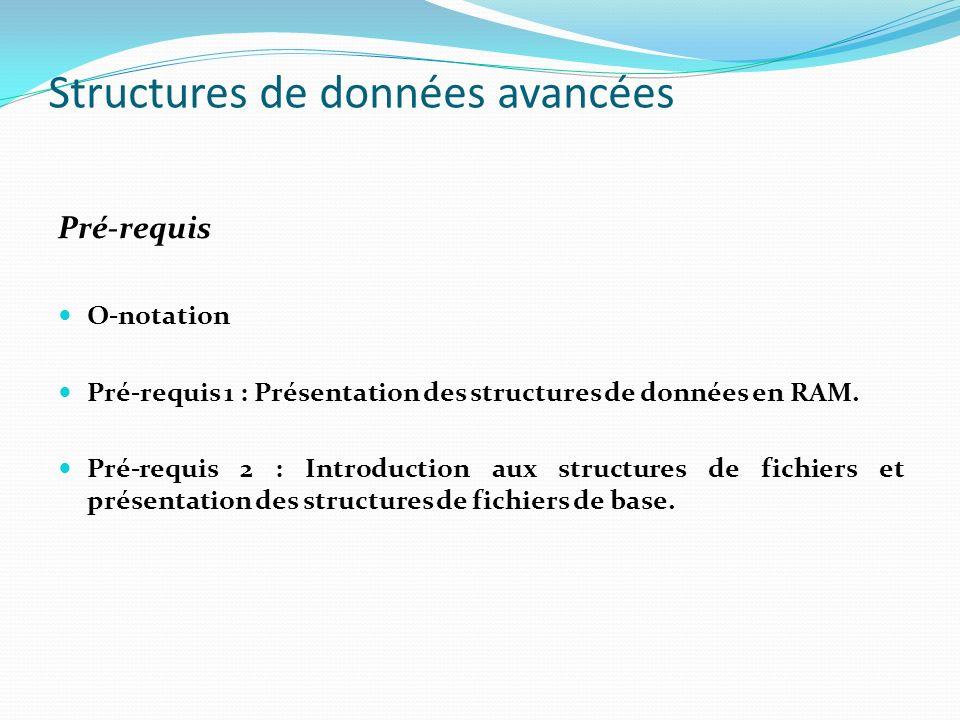 Structures de données avancées Pré-requis O-notation Pré-requis 1 : Présentation des structures de données en RAM. Pré-requis 2 : Introduction aux str