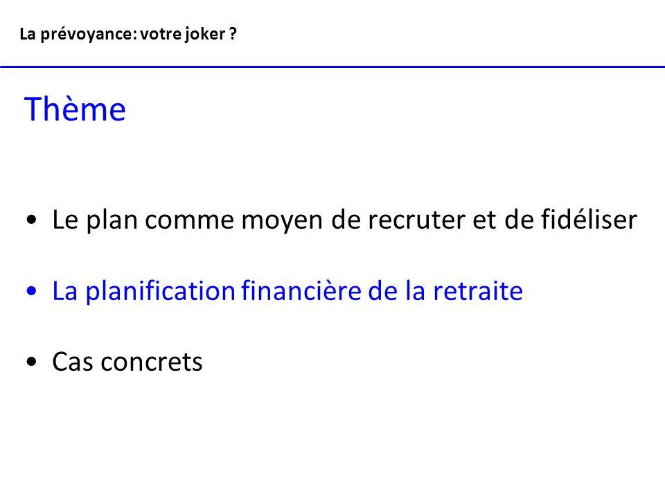 Thème Le plan comme moyen de recruter et de fidéliser La planification financière de la retraite Cas concrets La prévoyance: votre joker ?