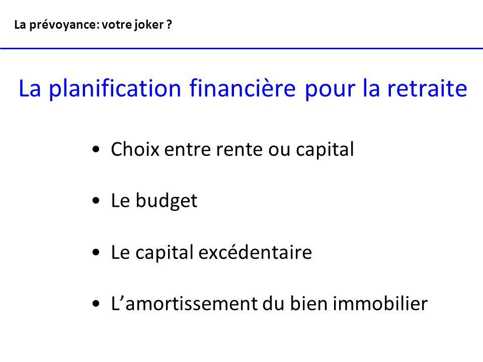La planification financière pour la retraite Choix entre rente ou capital Le budget Le capital excédentaire Lamortissement du bien immobilier La prévo