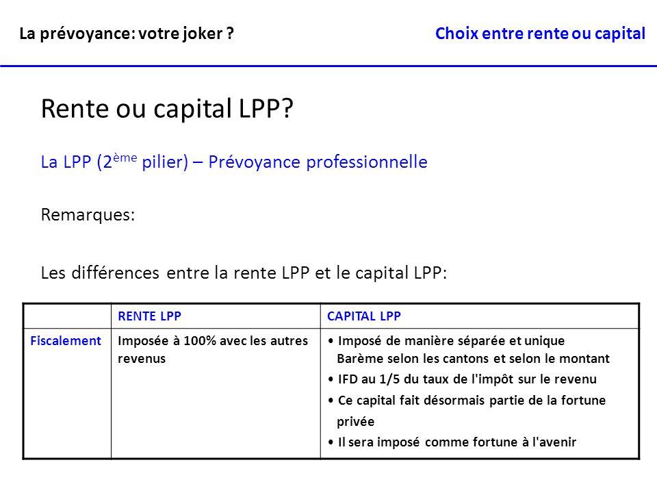 RENTE LPPCAPITAL LPP FiscalementImposée à 100% avec les autres revenus Imposé de manière séparée et unique Barème selon les cantons et selon le montan