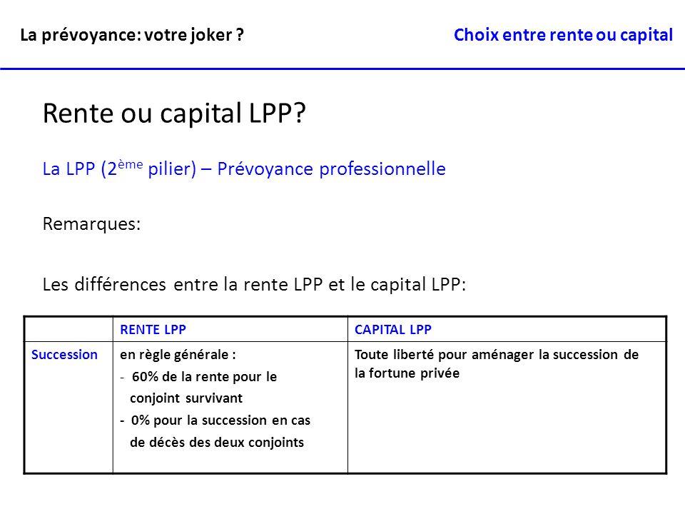 RENTE LPPCAPITAL LPP Successionen règle générale : - 60% de la rente pour le conjoint survivant - 0% pour la succession en cas de décès des deux conjo