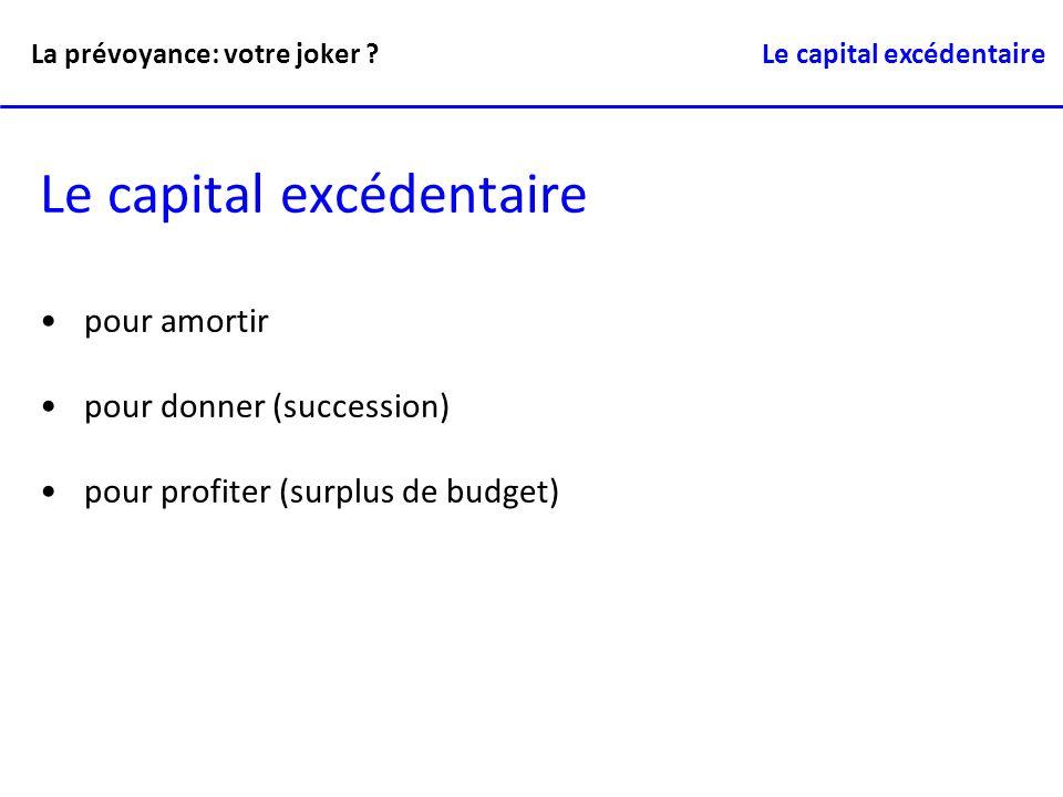Le capital excédentaire pour amortir pour donner (succession) pour profiter (surplus de budget) La prévoyance: votre joker ? Le capital excédentaire