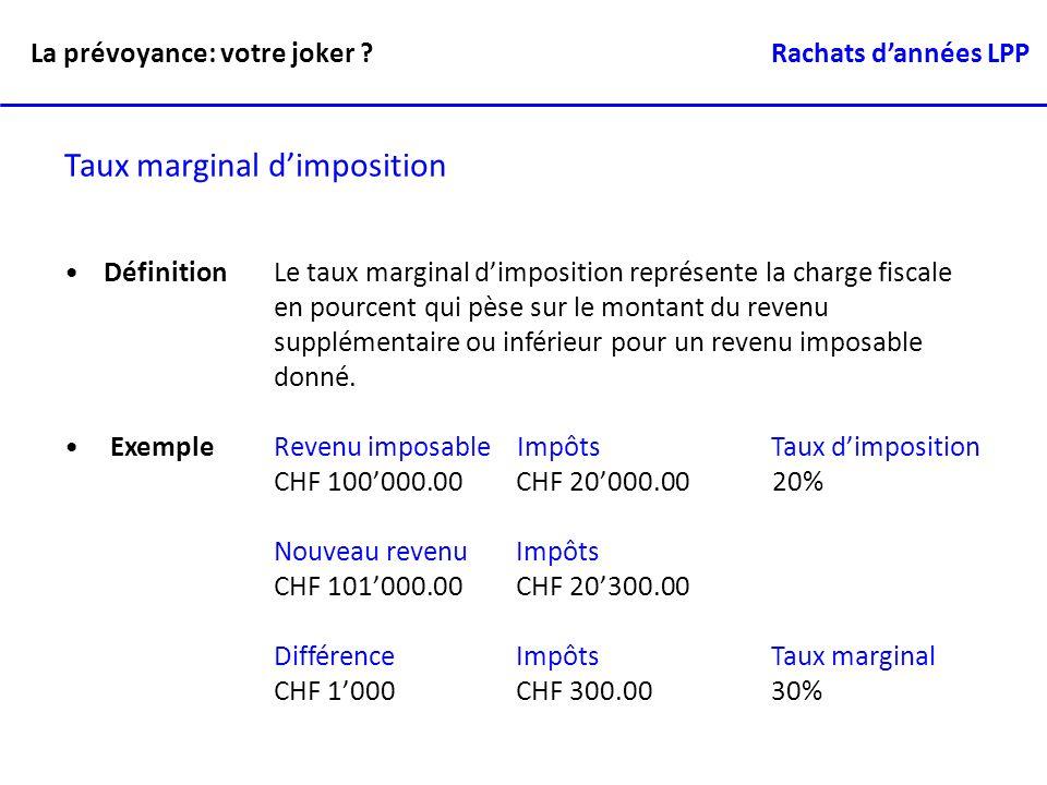 Taux marginal dimposition DéfinitionLe taux marginal dimposition représente la charge fiscale en pourcent qui pèse sur le montant du revenu supplément
