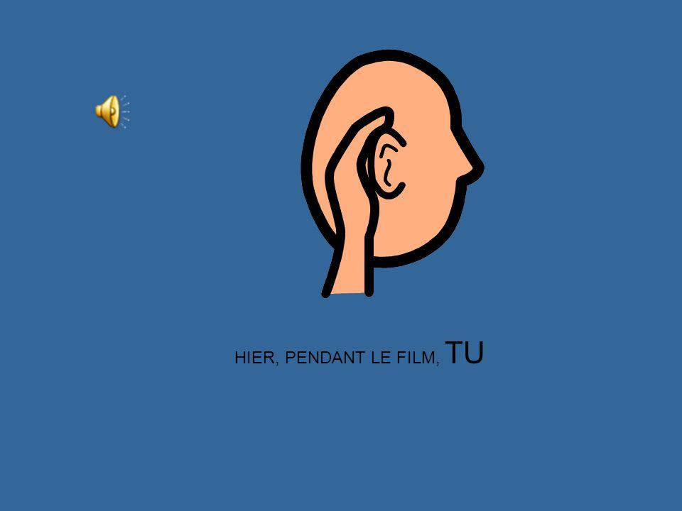 HIER, PENDANT LE FILM, JE