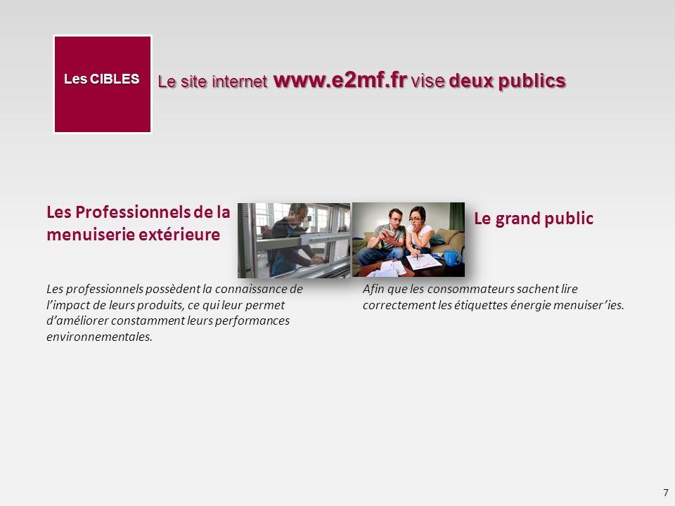 Les Professionnels de la menuiserie extérieure Le site internet www.e2mf.fr vise deux publics 7 Les CIBLES Les professionnels possèdent la connaissance de limpact de leurs produits, ce qui leur permet daméliorer constamment leurs performances environnementales.