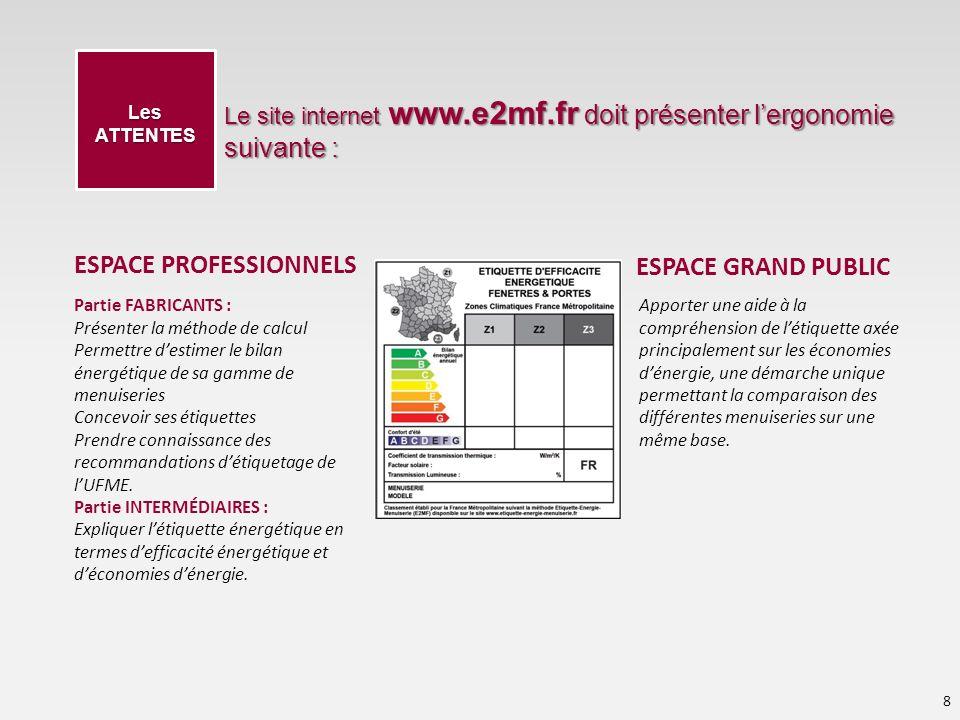 Le site internet www.e2mf.fr doit présenter lergonomie suivante : 8 Les ATTENTES Partie FABRICANTS : Présenter la méthode de calcul Permettre destimer le bilan énergétique de sa gamme de menuiseries Concevoir ses étiquettes Prendre connaissance des recommandations détiquetage de lUFME.