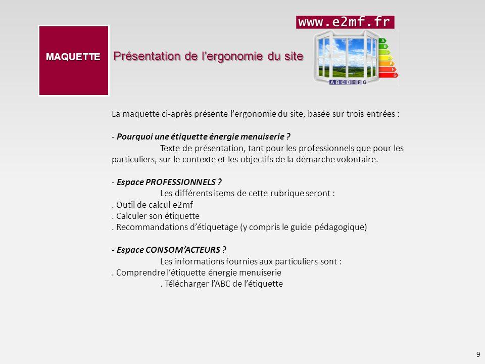 Présentation de lergonomie du site 9 MAQUETTE La maquette ci-après présente lergonomie du site, basée sur trois entrées : - Pourquoi une étiquette éne
