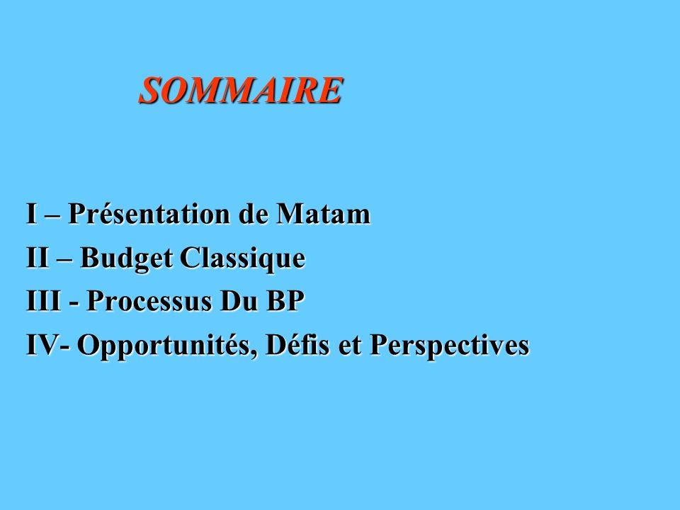 SOMMAIRE I – Présentation de Matam II – Budget Classique III - Processus Du BP IV- Opportunités, Défis et Perspectives