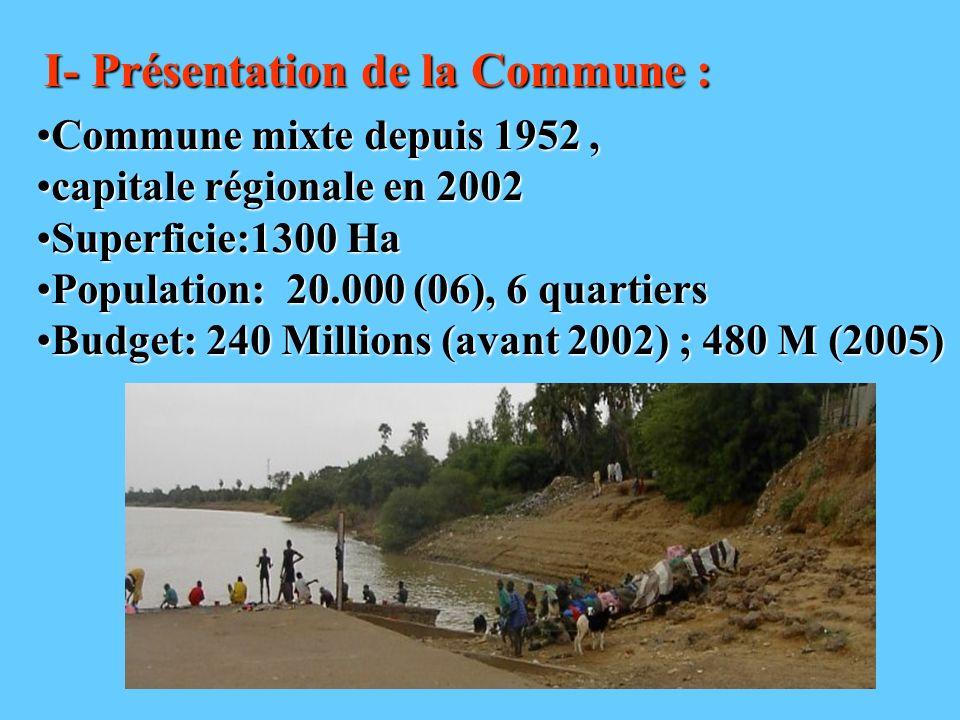 I- Présentation de la Commune : Commune mixte depuis 1952,Commune mixte depuis 1952, capitale régionale en 2002capitale régionale en 2002 Superficie:1
