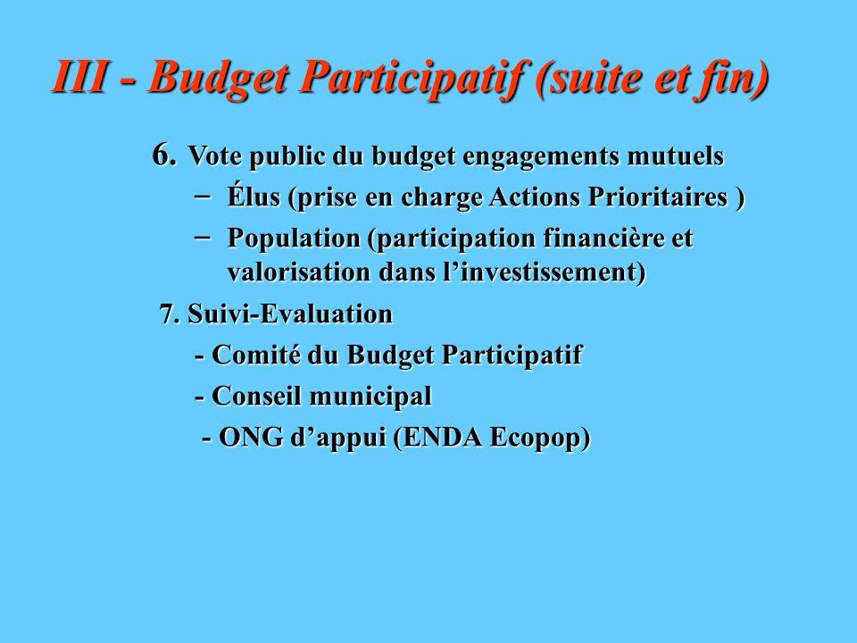 6. Vote public du budget engagements mutuels – Élus (prise en charge Actions Prioritaires ) – Population (participation financière et valorisation dan