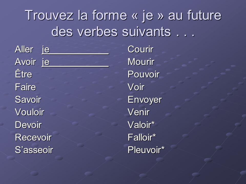 Trouvez la forme « je » au future des verbes suivants... Aller je___________ Avoir je___________ ÊtreFaireSavoirVouloirDevoirRecevoirSasseoirCourirMou