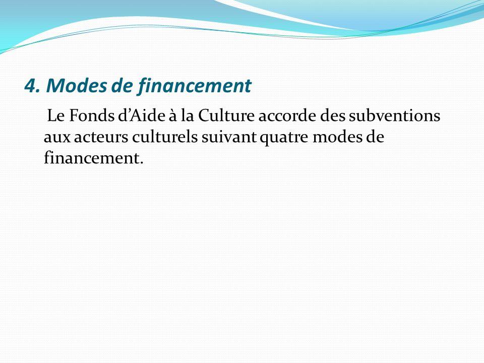 4. Modes de financement Le Fonds dAide à la Culture accorde des subventions aux acteurs culturels suivant quatre modes de financement.