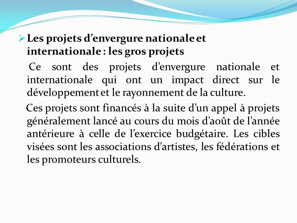 Les projets denvergure nationale et internationale : les gros projets Ce sont des projets denvergure nationale et internationale qui ont un impact direct sur le développement et le rayonnement de la culture.