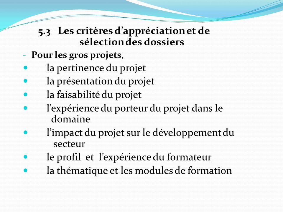 5.3 Les critères dappréciation et de sélection des dossiers - Pour les gros projets, la pertinence du projet la présentation du projet la faisabilité du projet lexpérience du porteur du projet dans le domaine limpact du projet sur le développement du secteur le profil et lexpérience du formateur la thématique et les modules de formation