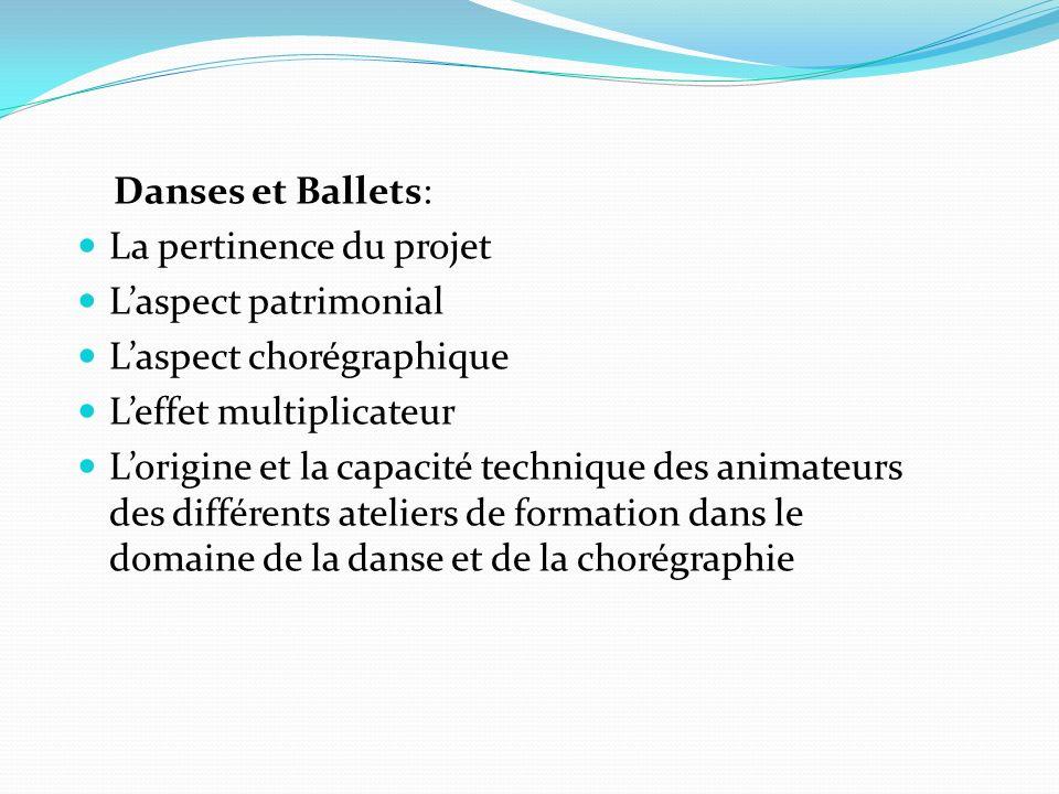 Danses et Ballets: La pertinence du projet Laspect patrimonial Laspect chorégraphique Leffet multiplicateur Lorigine et la capacité technique des animateurs des différents ateliers de formation dans le domaine de la danse et de la chorégraphie