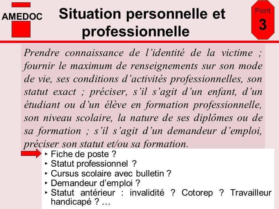 AMEDOC Situation personnelle et professionnelle Prendre connaissance de lidentité de la victime ; fournir le maximum de renseignements sur son mode de