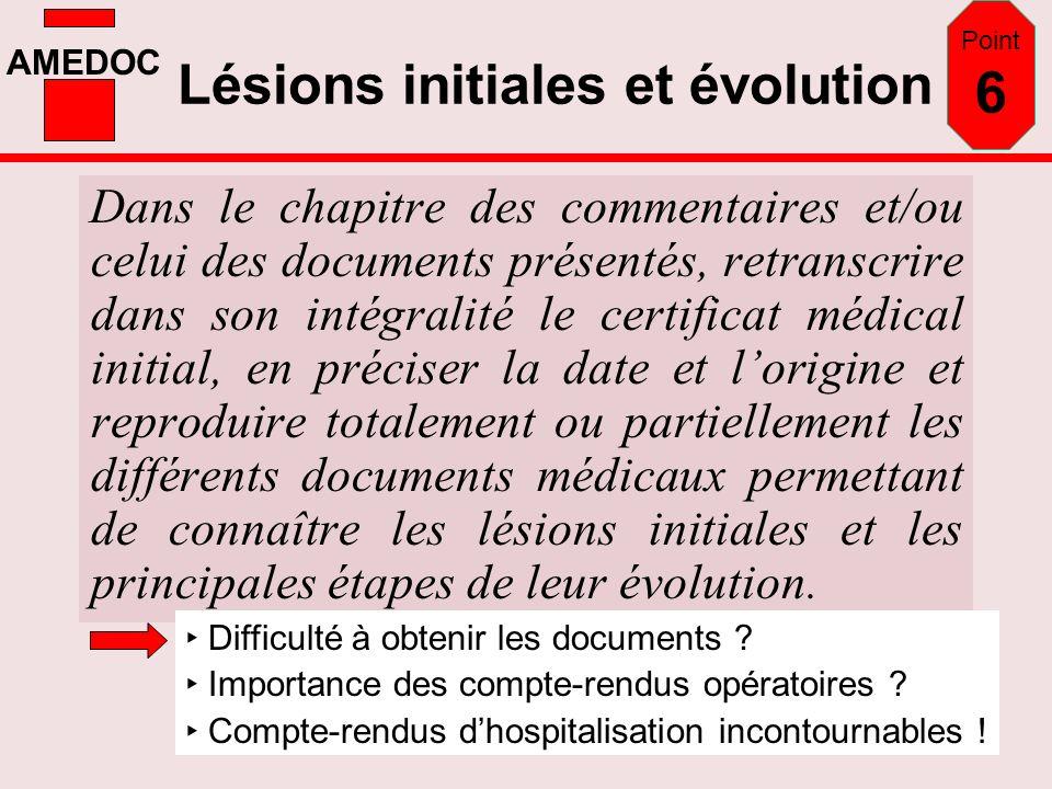 AMEDOC Lésions initiales et évolution Dans le chapitre des commentaires et/ou celui des documents présentés, retranscrire dans son intégralité le cert