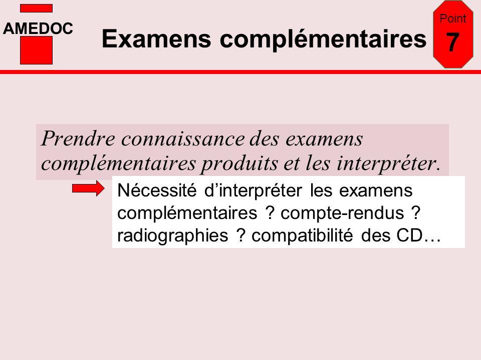 AMEDOC Examens complémentaires Prendre connaissance des examens complémentaires produits et les interpréter. Point 7 Nécessité dinterpréter les examen