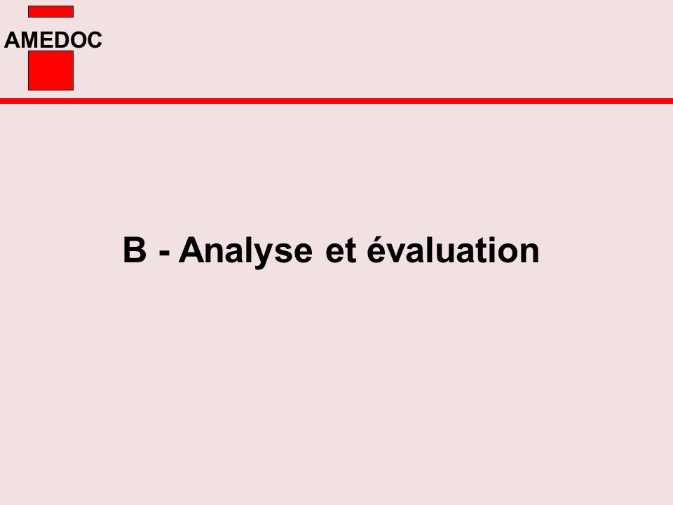 AMEDOC B - Analyse et évaluation