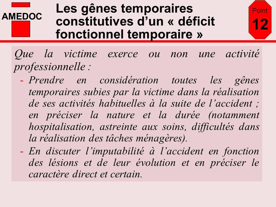 AMEDOC Les gênes temporaires constitutives dun « déficit fonctionnel temporaire » Que la victime exerce ou non une activité professionnelle : -Prendre