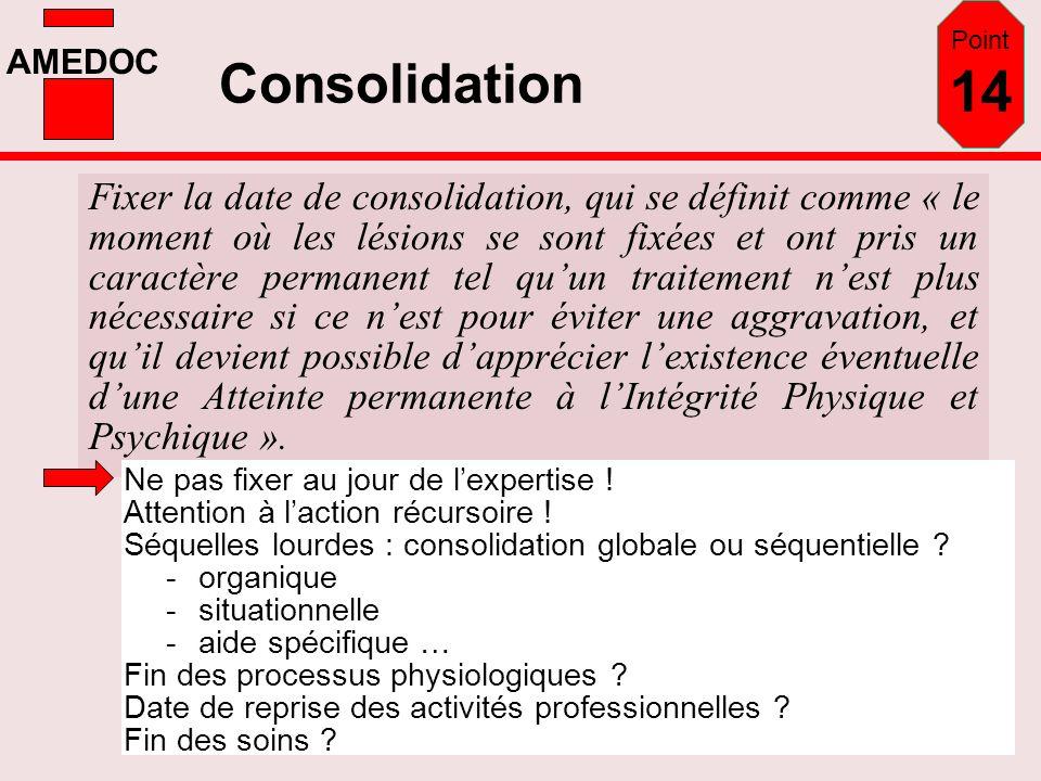 AMEDOC Consolidation Fixer la date de consolidation, qui se définit comme « le moment où les lésions se sont fixées et ont pris un caractère permanent