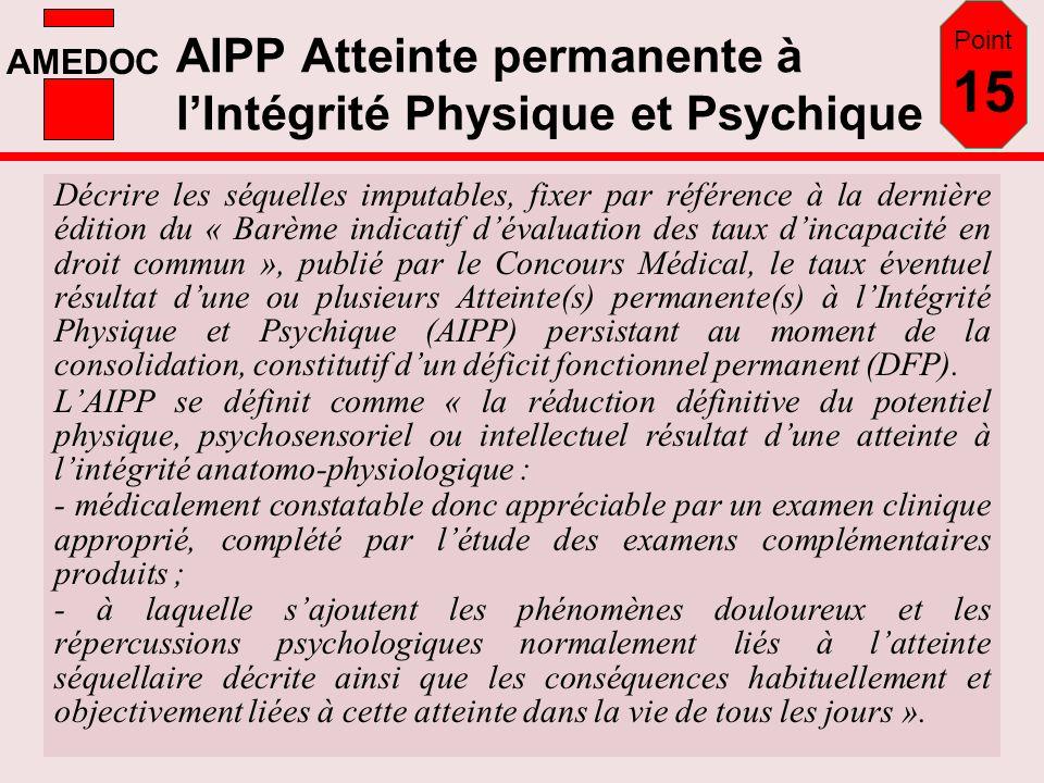 AMEDOC AIPP Atteinte permanente à lIntégrité Physique et Psychique Décrire les séquelles imputables, fixer par référence à la dernière édition du « Ba