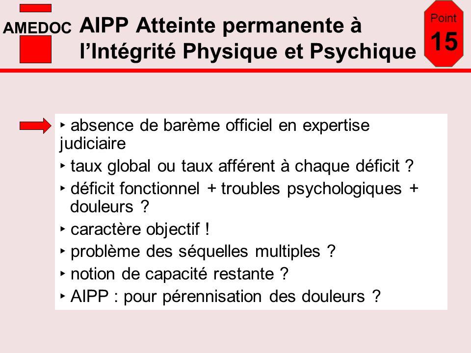 AMEDOC AIPP Atteinte permanente à lIntégrité Physique et Psychique absence de barème officiel en expertise judiciaire taux global ou taux afférent à c