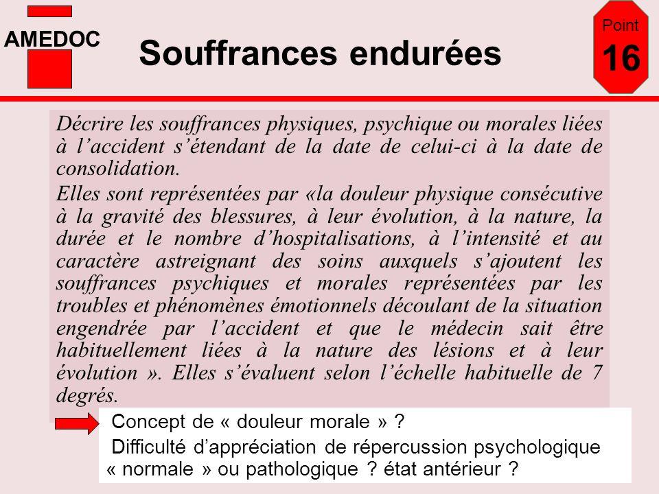 AMEDOC Souffrances endurées Décrire les souffrances physiques, psychique ou morales liées à laccident sétendant de la date de celui-ci à la date de co