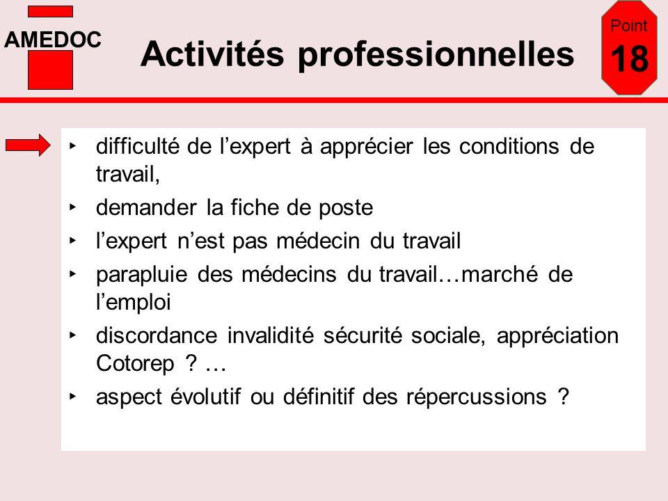AMEDOC Activités professionnelles difficulté de lexpert à apprécier les conditions de travail, demander la fiche de poste lexpert nest pas médecin du