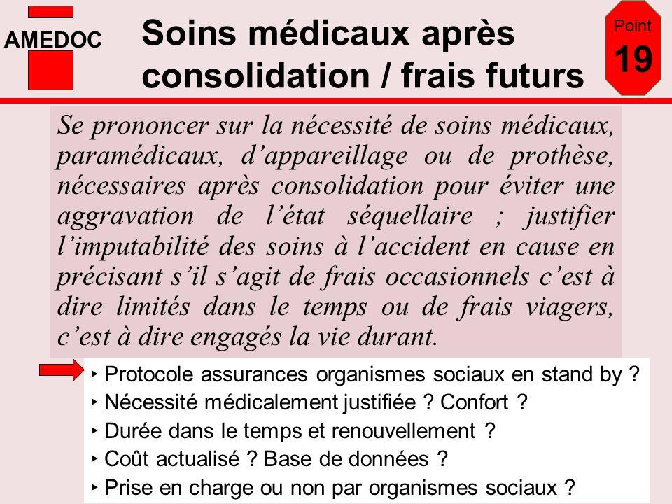 AMEDOC Soins médicaux après consolidation / frais futurs Se prononcer sur la nécessité de soins médicaux, paramédicaux, dappareillage ou de prothèse,