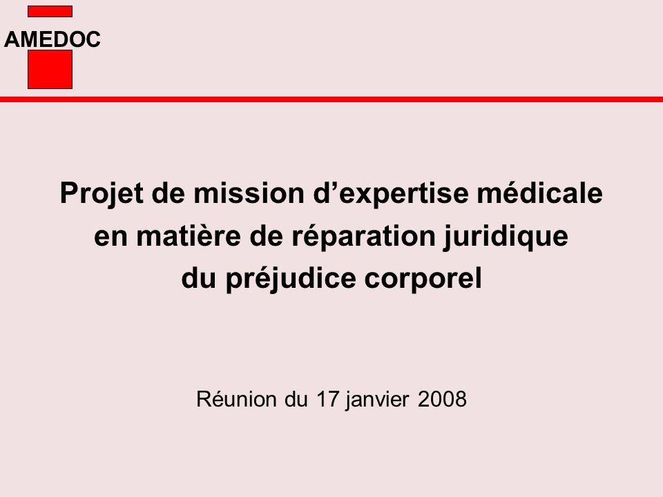 AMEDOC Projet de mission dexpertise médicale en matière de réparation juridique du préjudice corporel Réunion du 17 janvier 2008
