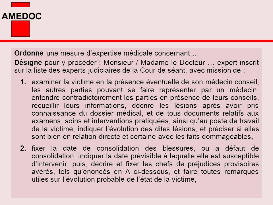 AMEDOC Ordonne une mesure dexpertise médicale concernant … Désigne pour y procéder : Monsieur / Madame le Docteur … expert inscrit sur la liste des ex