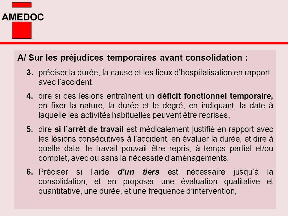 AMEDOC A/ Sur les préjudices temporaires avant consolidation : 3. préciser la durée, la cause et les lieux dhospitalisation en rapport avec laccident,