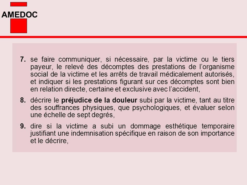 AMEDOC 7.se faire communiquer, si nécessaire, par la victime ou le tiers payeur, le relevé des décomptes des prestations de lorganisme social de la vi