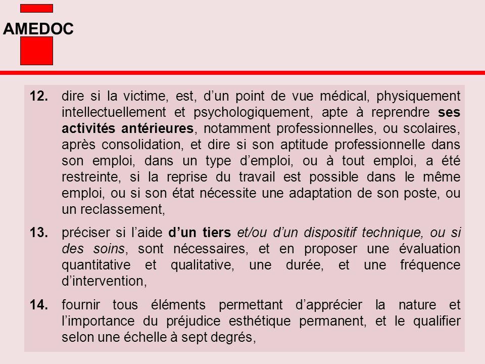 AMEDOC 12.dire si la victime, est, dun point de vue médical, physiquement intellectuellement et psychologiquement, apte à reprendre ses activités anté