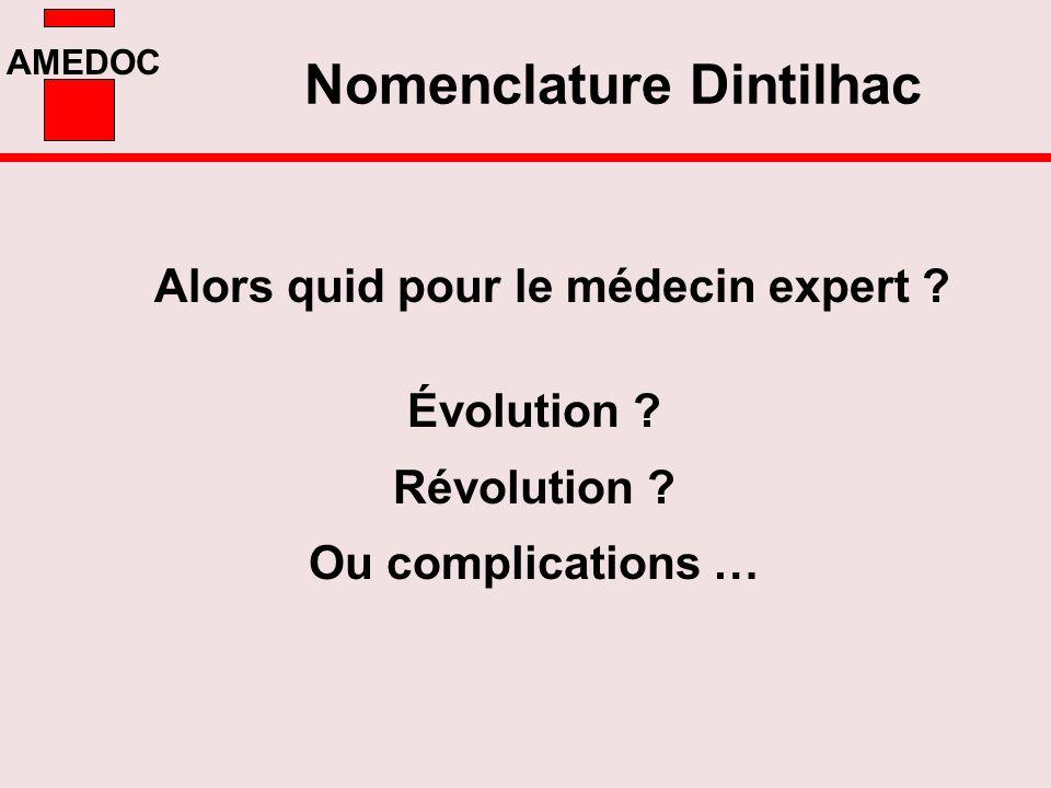 AMEDOC Alors quid pour le médecin expert ? Nomenclature Dintilhac Évolution ? Révolution ? Ou complications …