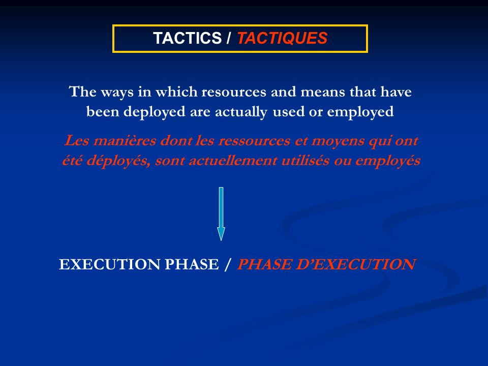 TACTICS / TACTIQUES The ways in which resources and means that have been deployed are actually used or employed Les manières dont les ressources et mo