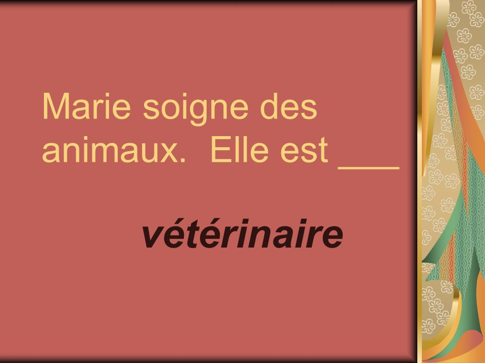 Marie soigne des animaux. Elle est ___ vétérinaire