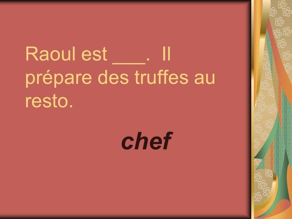 Raoul est ___. Il prépare des truffes au resto. chef
