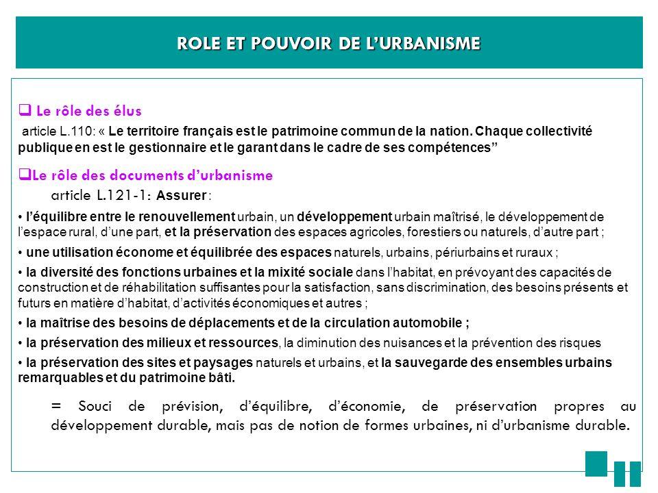 ROLE ET POUVOIR DE LURBANISME Le rôle des élus article L.110: « Le territoire français est le patrimoine commun de la nation. Chaque collectivité publ