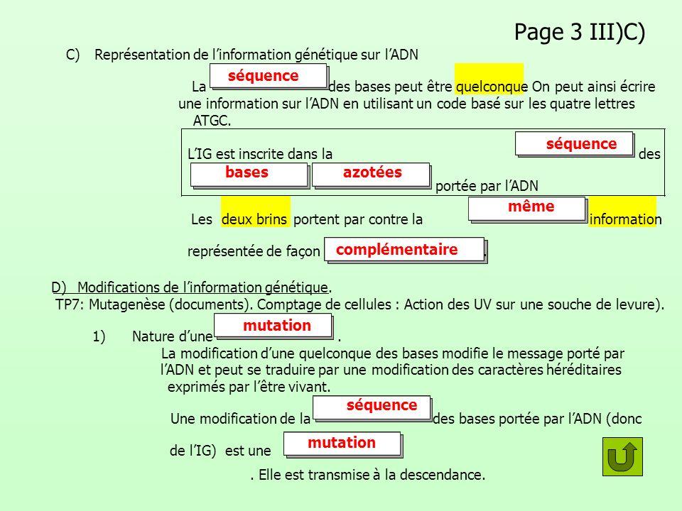 Page 3 III)C) C) Représentation de linformation génétique sur lADN Lades bases peut êtrequelconque. On peut ainsi écrire une information sur lADN en u