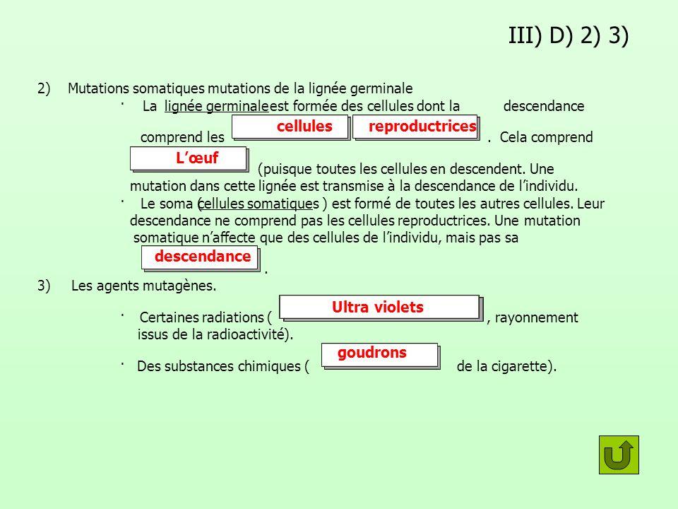 III) D) 2) 3) 2) Mutations somatiques mutations de la lignée germinale · Lalignée germinale est formée des cellules dont ladescendance comprend les. C