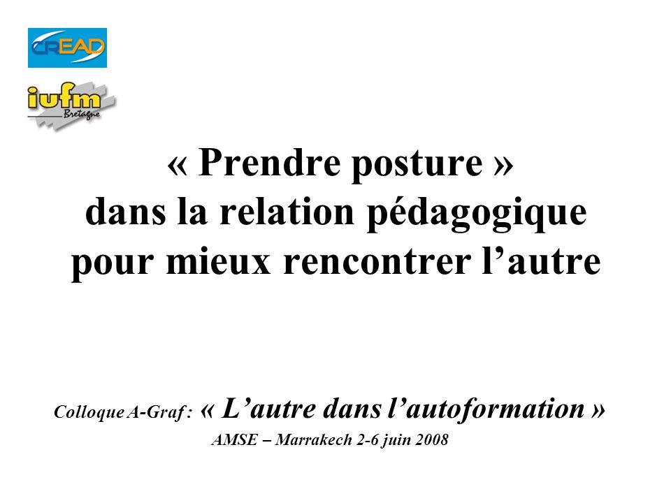 « Prendre posture » dans la relation pédagogique pour mieux rencontrer lautre Colloque A-Graf : « Lautre dans lautoformation » AMSE – Marrakech 2-6 ju