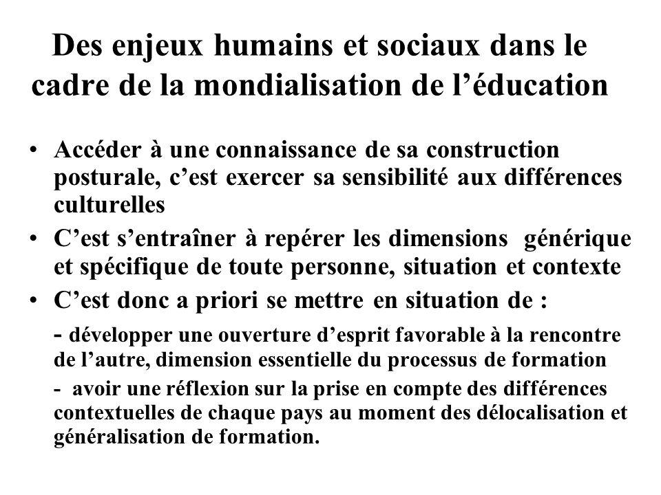 Des enjeux humains et sociaux dans le cadre de la mondialisation de léducation Accéder à une connaissance de sa construction posturale, cest exercer s